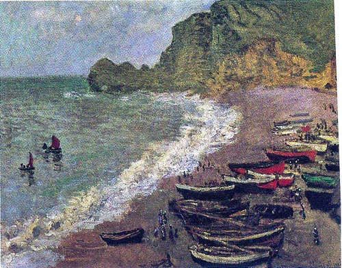 The Beach At Etretat 1883 By Claude Monet