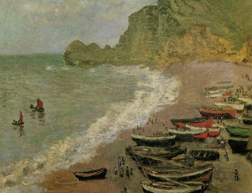 The Beach At Etretat By Claude Monet