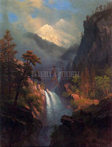 Cascading Falls At Sunset by Albert Bierstadt
