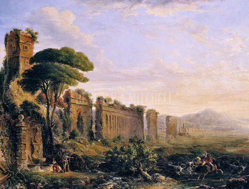 View Of An Aqueduct In The Campagna Near Rome By Brown George Loring