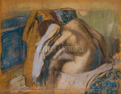Woman Drying Her Hair After The Bath By Degas Edgar