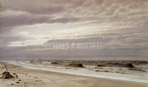 Beach Scene With Barrel And Anchor By Richards William Trost
