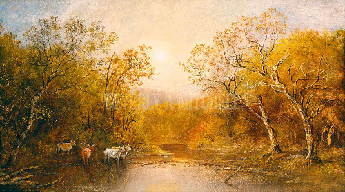 Landscape With Cows By Blakelock Ralph Albert