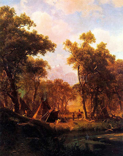 Indian Encampment Shoshone Village by Albert Bierstadt