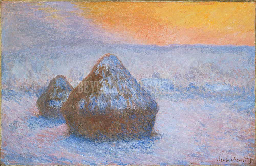 Stacks Of Wheat Sunset Snow Effect By Monet Claude