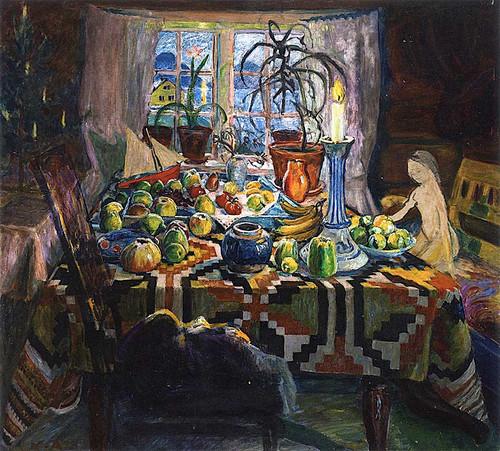 Interior Still Life Christmas Morning By Nicolai Astrup