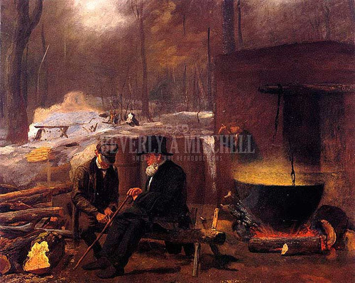 At The Camp Spinning Yarns And Whittling by Eastman Johnson