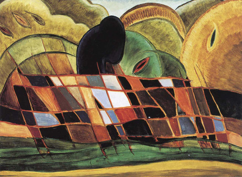 Brick Barge With Landscape By Arthur Dove