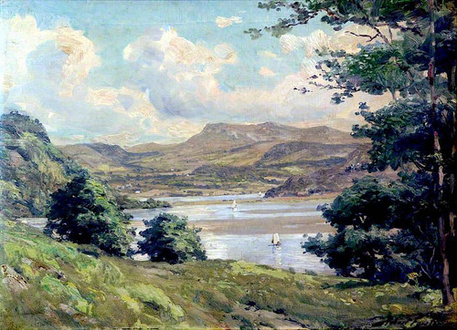 Mountainous Landscape And Lake With Boats By Robert Fowler