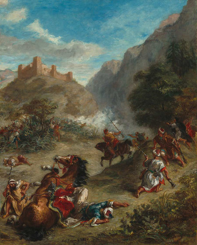 Arabs Skirmishing In The Mountains By  Eugene Delacroix