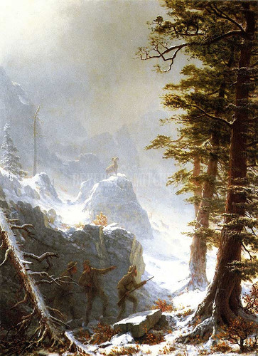 Three Hunters Stalking A Big Horn Sheep In A Snow Squall by Albert Bierstadt