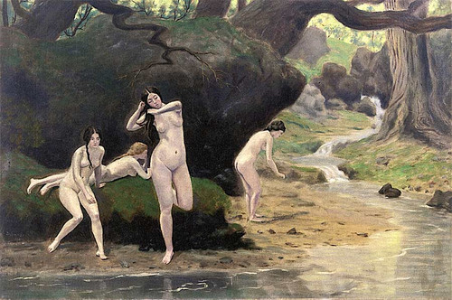 Four Nudes By A Brook By Louis M. Eilshemius