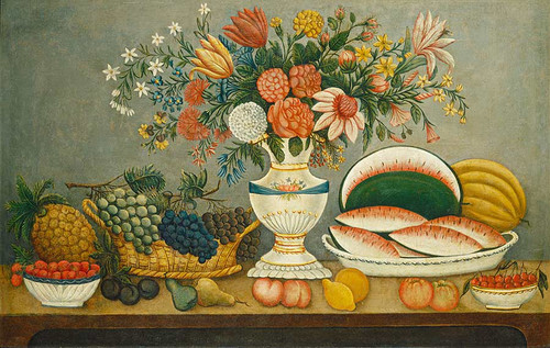 Fruit And Flowers By American 19th Century