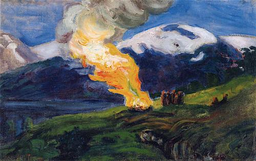 Midsummer Eve Bonfire (Sketch) By Nicolai Astrup