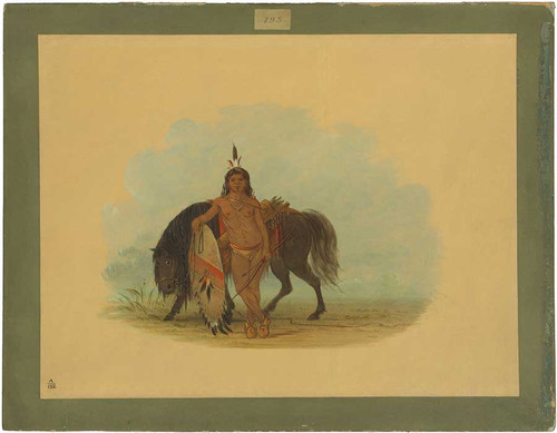 A Cheyenne Warrior Resting His Horse By George Catlin