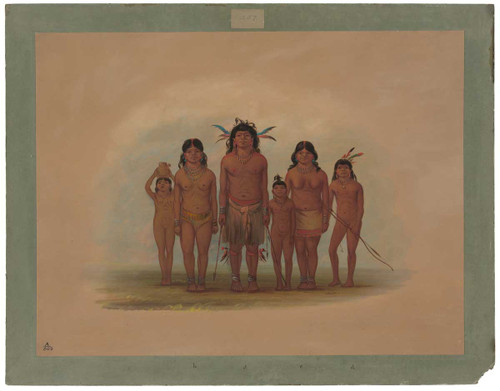 A Connibo Indian Family By George Catlin