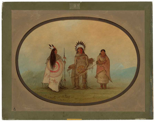 A Crow Chief, A Warrior, And His Wife By George Catlin