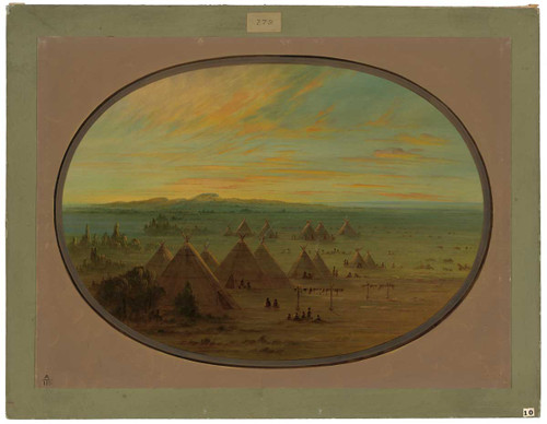 A Crow Village On The Salmon River By George Catlin