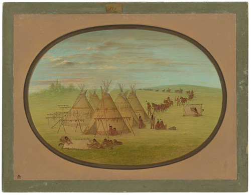A Little Sioux Village By George Catlin
