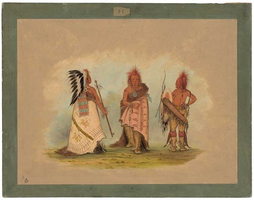 A Pawnee Chief With Two Warriors By George Catlin