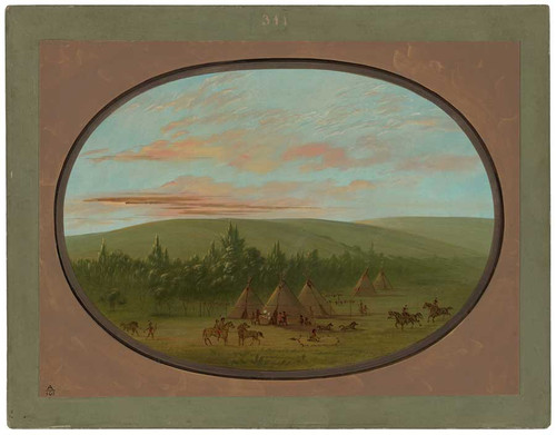 A Sioux Village By George Catlin