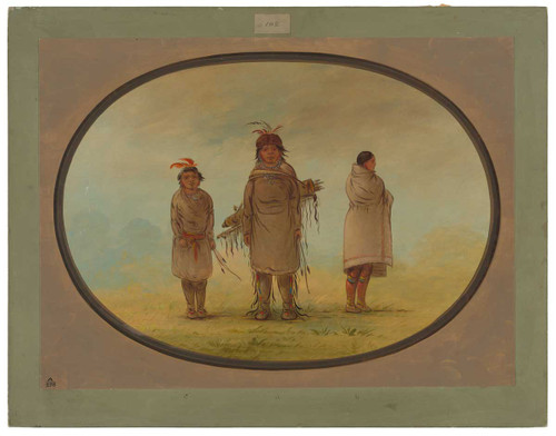 A Stone Warrior, His Wife, And A Boy By George Catlin