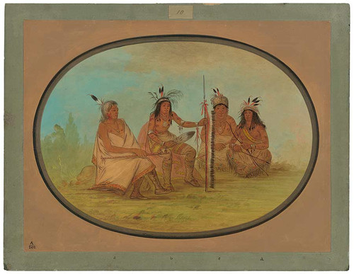 An Aged Ojibbeway Chief And Three Warriors By George Catlin