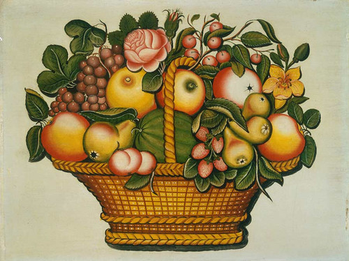 Basket Of Fruit With Flowers By American 19th Century