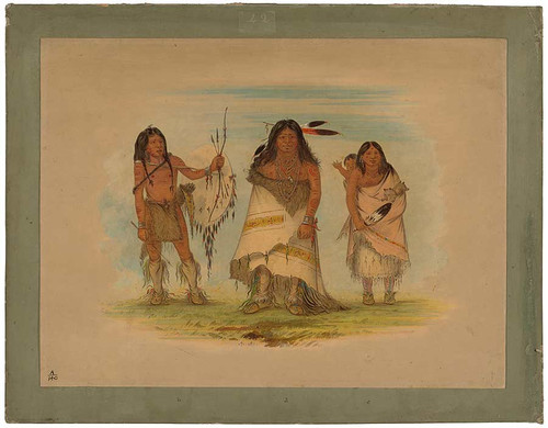 Camanchee Chief, His Wife, And A Warrior By George Catlin