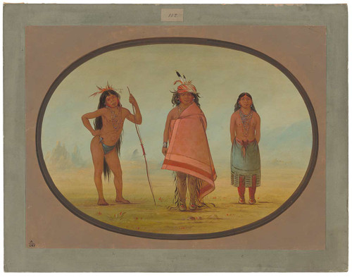 Cochimtee Chief, His Wife, And A Warrior By George Catlin