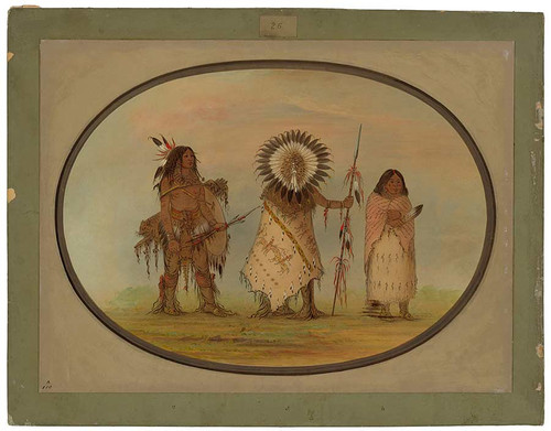 Crow Chief, His Wife, And A Warrior By George Catlin