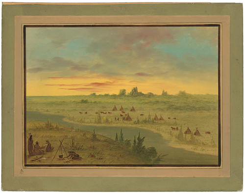 Encampment Of Pawnee Indians At Sunset By George Catlin