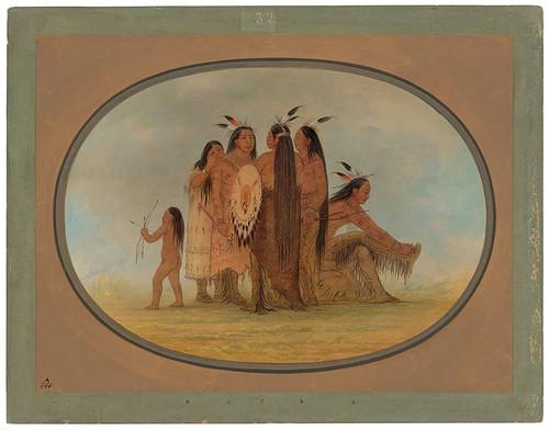 Four Mandan Warriors, A Girl, And A Boy By George Catlin
