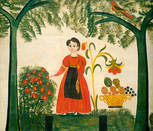 Girl In Red With Flowers And A Distelfink By American 19th Century