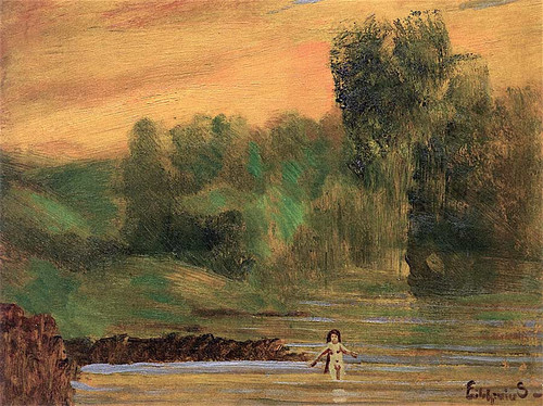 Landscape With Nude Figure By A River By Louis M. Eilshemius