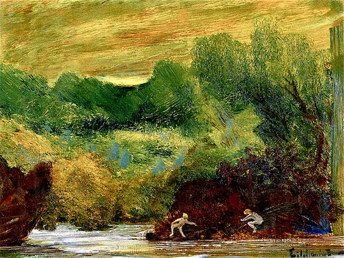 Landscape With Nude Figures By A River By Louis M. Eilshemius