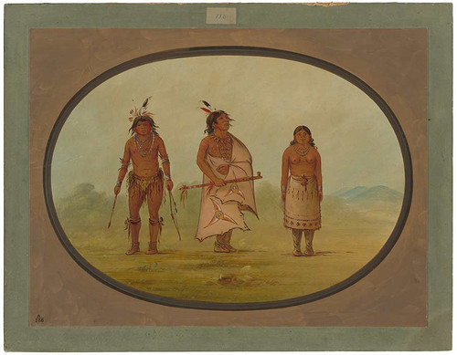 Mohave Chief, A Warrior, And His Wife By George Catlin