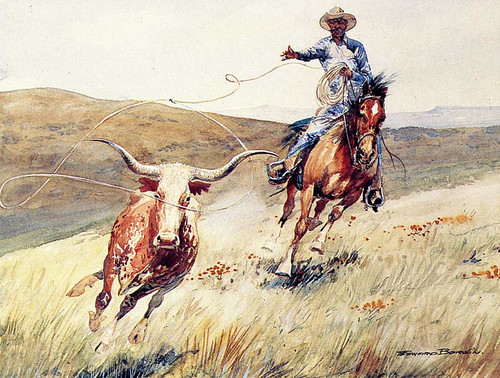 Roping A Steer By Edward Borein