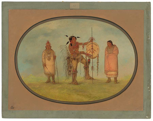 Saukie Warrior, His Wife, And A Boy By George Catlin