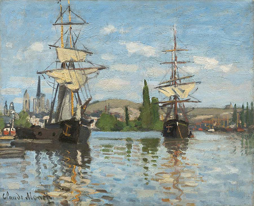 Ships Riding On The Seine At Rouen By Claude Monet