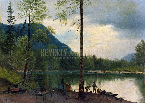 Campers With Canoes by Albert Bierstadt