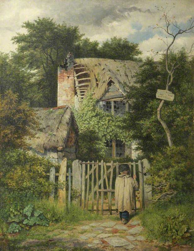 A Small Boy Standing At The Gate Of A Ruined Cottage By Benjamin Williams Leader