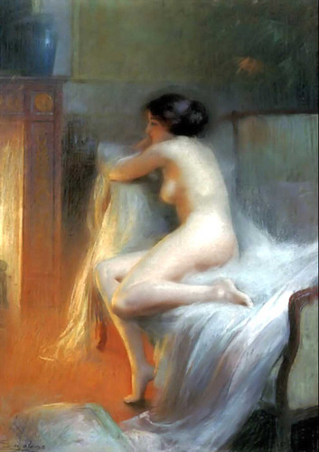 A Nude Reclining By The Fire By Delphin Enjolras