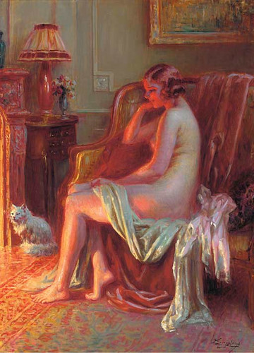 Nude At The Fireplace By Delphin Enjolras