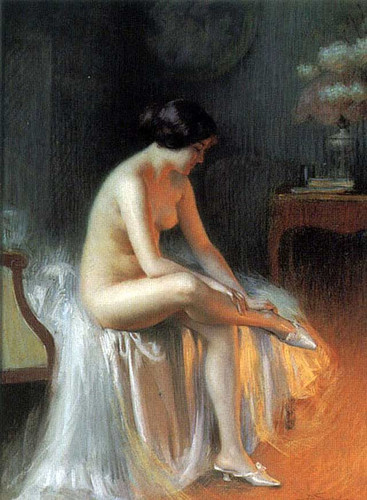 Nude By Firelight (Also Known As By The Fireside) By Delphin Enjolras