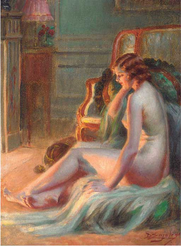 A Nude By The Fire By Delphin Enjolras