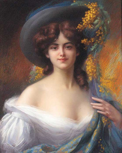 A Young Beauty In A Hat Decorated With Yellow Flowers By Delphin Enjolras