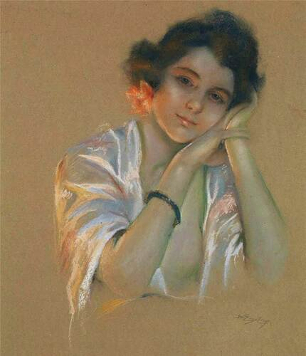 Portrait Of A Young Woman By Delphin Enjolras