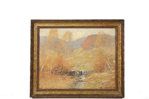 Landscape With Stream And Mountains By Ernest Albert
