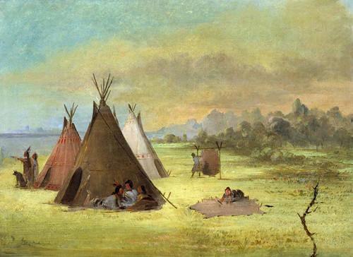 Indian Encampment Comanche (Or Kiowa) Dressing Skins Red River By George Catlin